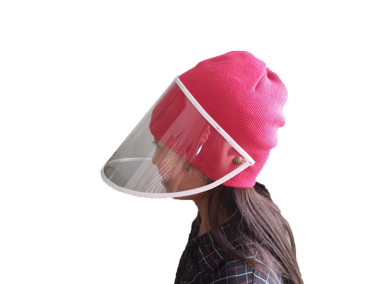 Mask hat . Cap with PVC transparent protection . Size fit at all for adults. Children . Very useful . Comfortable in shops. Restaurants. Factory or going out in city