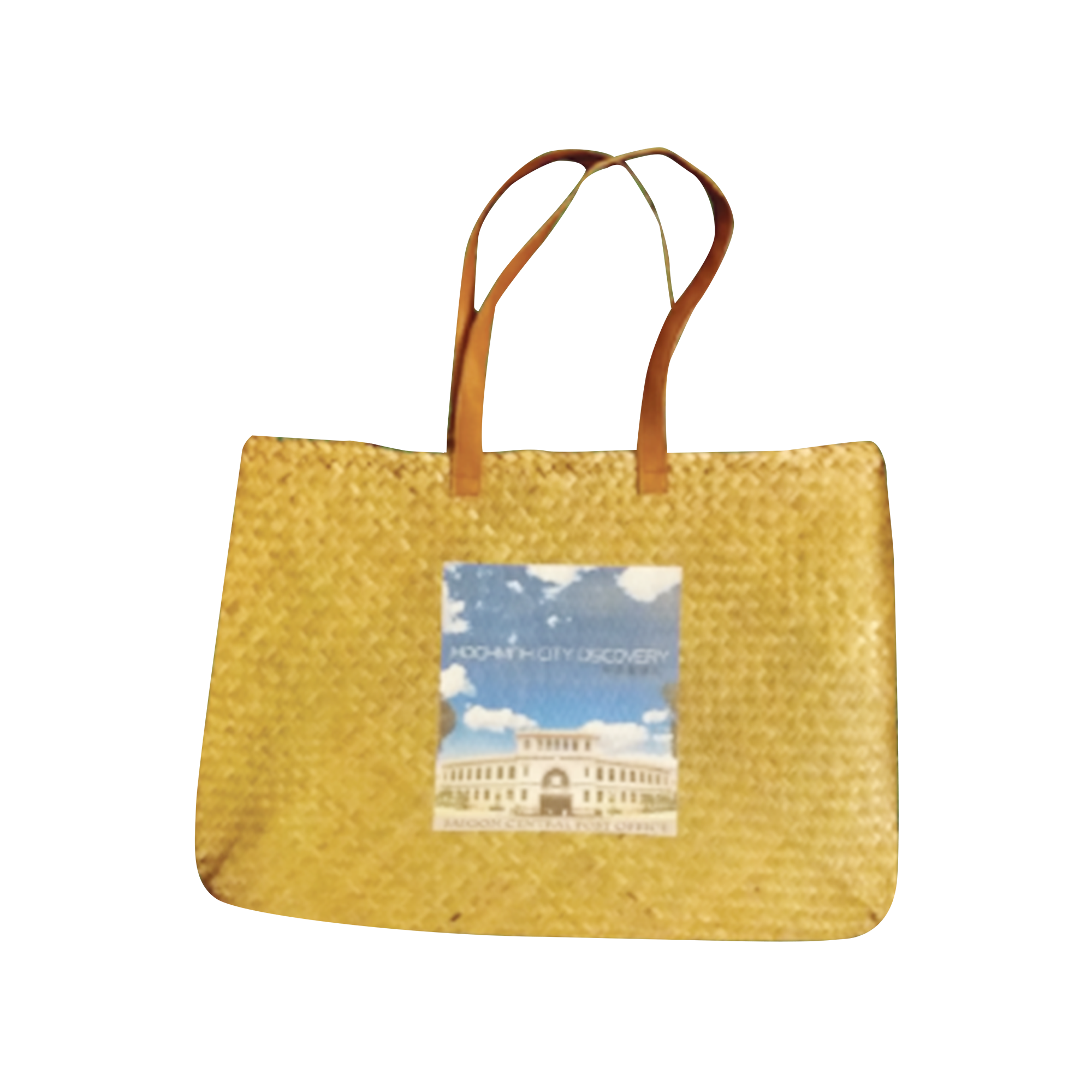 real straw tropical tote bag